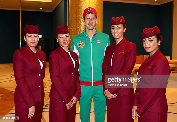 Novak Djokovic of the UAE Royals at Qatar Airways sponsors meet and greet during the CocaCola International Premier Tennis League fourth leg at the...