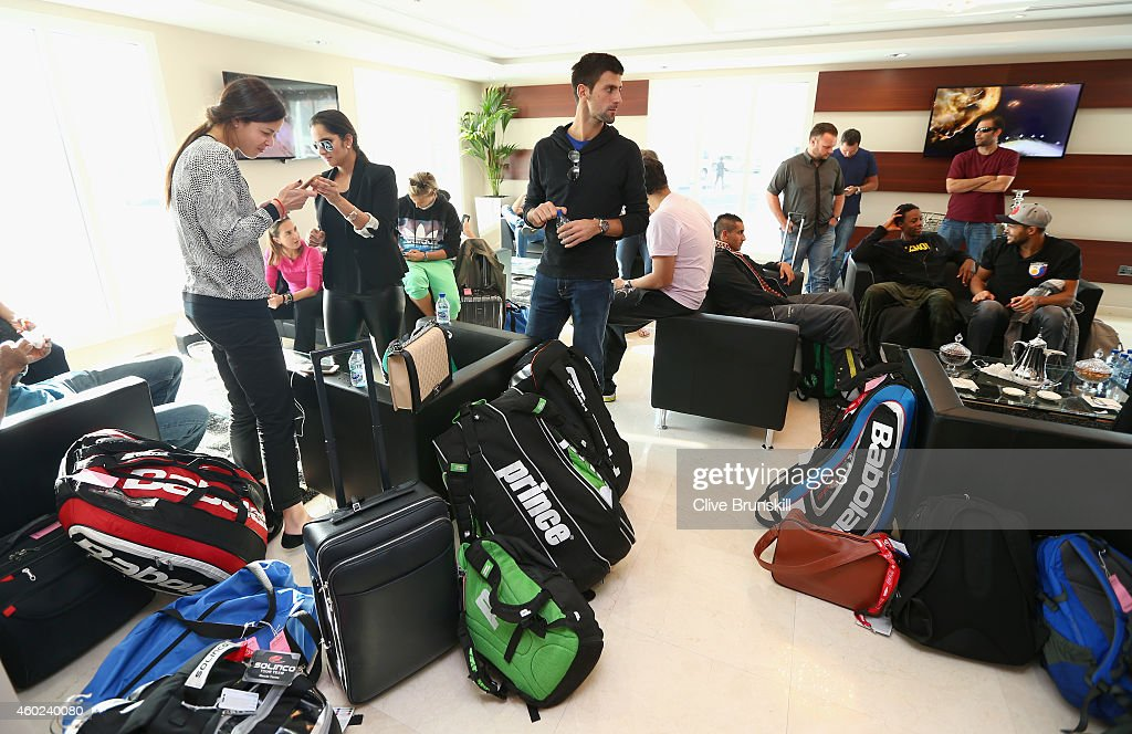 Novak Djokovic of the UAE Royals,Ana Ivanovic and Sania Mirza of the Indian Aces in Dubai private airport after taking the private players flight from Delhi,India to Dubai prior to the Coca-Cola International Premier Tennis League fourth leg at the Hamdan Sports Complex, December 10, 2014 in Dubai.