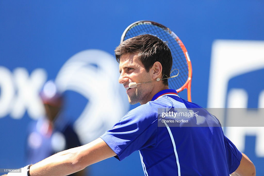 <a gi-track='captionPersonalityLinkClicked' href=/galleries/search?phrase=Novak+Djokovic&family=editorial&specificpeople=588315 ng-click='$event.stopPropagation()'>Novak Djokovic</a> participates in skills challenge during the 2013 Arthur Ashe Kids Day at USTA Billie Jean King National Tennis Center on August 24, 2013 in the Queens borough of New York City.