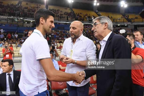 Novak Djokovic Serbian Tenis Player Sasha Djordjevic Head Coach of Bayern Munich Basketball and Jordi Bertomeu CEO and President of Euroleague...