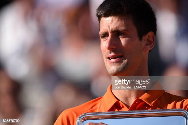 Novak Djokovic visibly upset with his runners up plate after the men's singles final on day fifteen of the French Open at Roland Garros on June 7th...