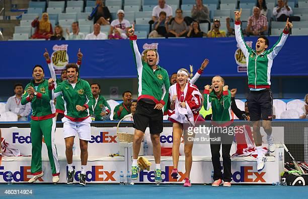 Novak DjokovicCaroline WozniackiKristina MladenovicJohn Leffine De Jager and the team bench of the UAE Royals all celebrate as team mates Nenad...