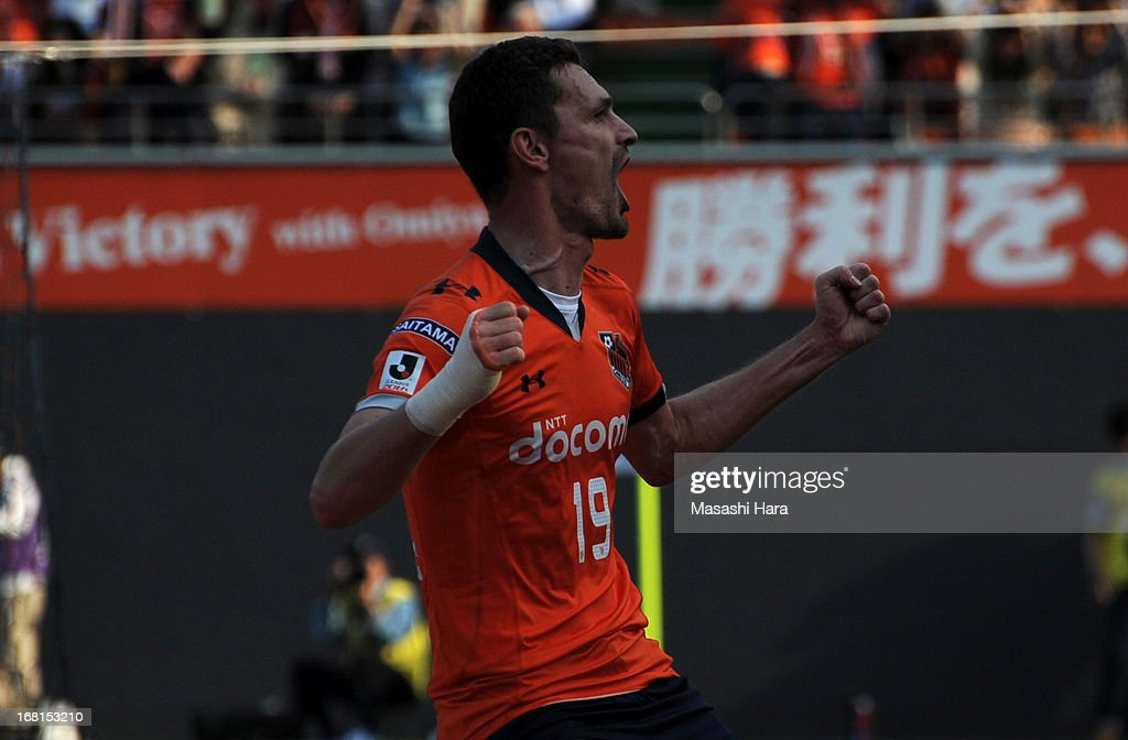 Novakovic #19 of Omiya Ardija celebrates the first goal during the J.League match between Omiya Ardija and Sanfrecce Hiroshima at Nack 5 Stadium Omiya on May 6, 2013 in Saitama, Japan.