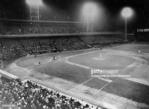 GE Novalux floodlights illuminate Cincinnati's Crosley Field for a night game in 1935