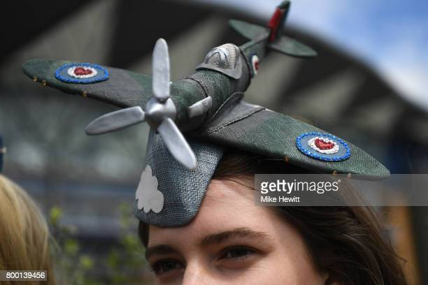A novel hat is seen promoting the RAF Benevolent Fund on Day Four of Royal Ascot at Ascot Racecourse on June 23 2017 in Ascot England