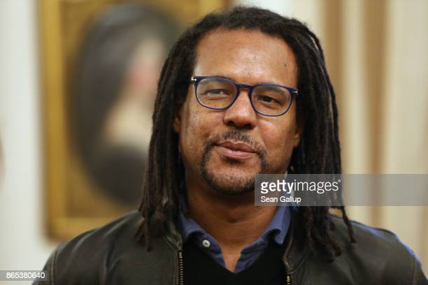 S novelist and Pulitzer Pize winner Colson Whitehead waits to meet German President FrankWalter Steinmeier at Schloss Bellevue presidential palace on...