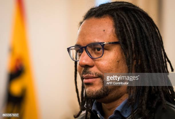 US novelist and Pulitzer Pize winner Colson Whitehead waits to meet the German President at the presidential palace Schloss Bellevue on October 23...