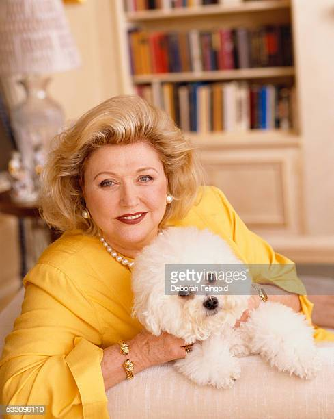 Novelist Barbara Taylor Bradford with Bichon Frise