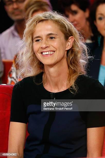 Novelist Delphine de Vigan presents her book 'D'apres une histoire vraie' during the 'Vivement Dimanche' French TV Show at Pavillon Gabriel on...