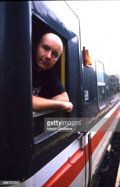 Novelist Irvine Welsh on board an Intercity train London United Kingdom 1995