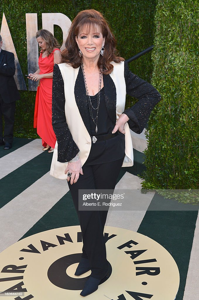 Novelist Jackie Collins arrives at the 2013 Vanity Fair Oscar Party hosted by Graydon Carter at Sunset Tower on February 24, 2013 in West Hollywood, California.
