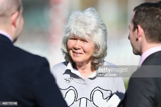 Novelist Jilly Cooper looks on during day one at Cheltenham Racecourse on March 10 2015 in Cheltenham England