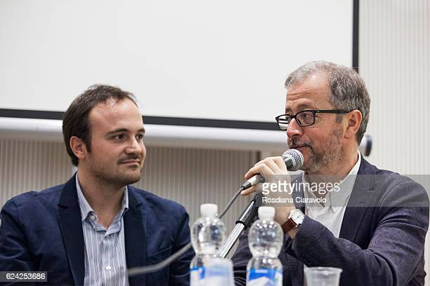 Novelist Journalist and screenwriter Diego De Silva and Writer Paolo Di Paolo attend Bookcity Milan 2016 on November 18 2016 in Milan Italy
