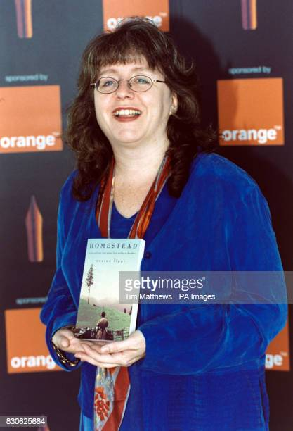 Novelist Rosina Lippi with her novel 'Homestead' one of the books shortlisted for the 2001 Orange Prize for Fiction at Pimlico Gardens in London