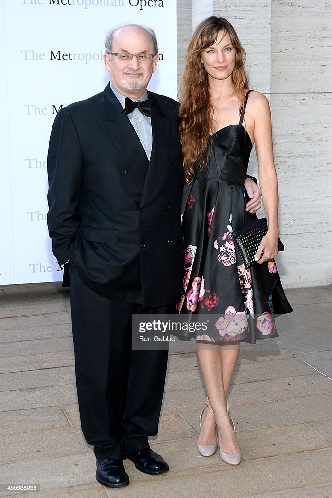 Novelist Salman Rushdie and guest attend the Metropolitan Opera Season Opening at The Metropolitan Opera House on September 22 2014 in New York City