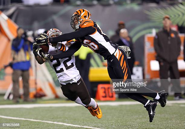 Cleveland RCB Buster Skrine [22] intercepts a pass in the game between the Cleveland Browns and the Cincinnati Bengals at Paul Brown Stadium in...