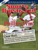 November 10 2008 Sports Illustrated Cover Baseball World Series Philadelphia Phillies Brad Lidge and Carlos Ruiz victorious after winning game and...