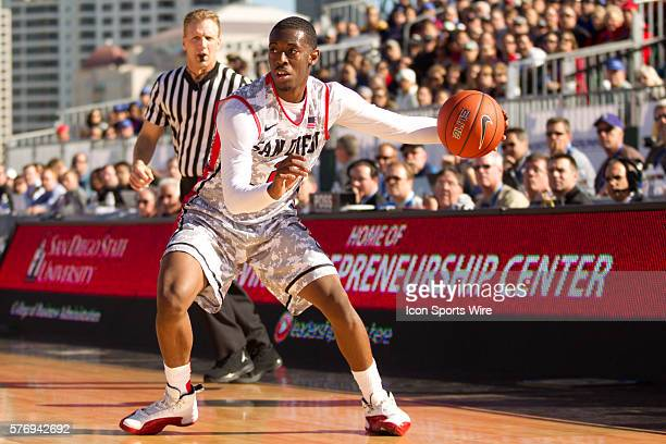 Xavier Thames of the San Diego State Aztecs during the Aztecs 6249 loss to the Syracuse Orange Battle on the Midway USS Midway San Diego CA