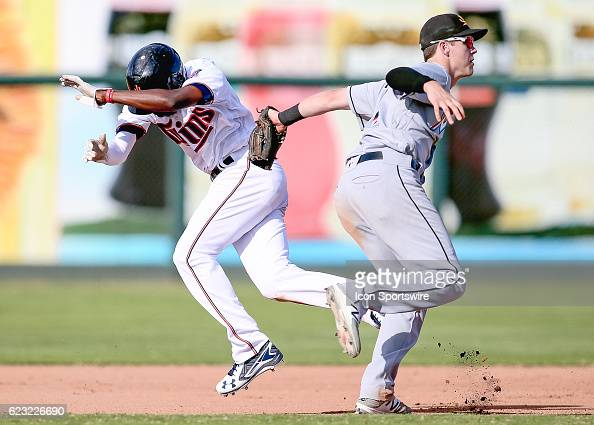 November 12 2016 Surprise AZ USA Mesa Solar Sox Infielder Brian Anderson tags out Surprise Saguaros Infielder Nick Gordon to complete a caught...