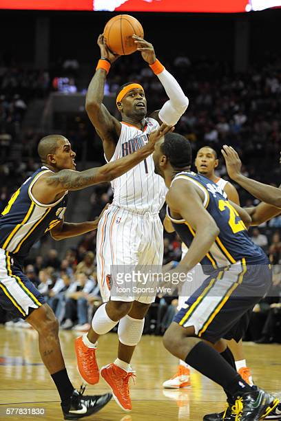 Charlotte guard Stephen Jackson looks to make a pass during a game between the Utah Jazz and the Charlotte Bobcats at the Time Warner Cable Arena in...