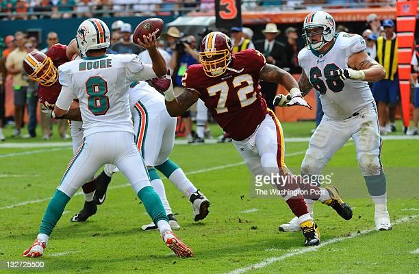 MIAMI FL November 13Washington Redskins defensive end Stephen Bowen goes after Miami Dolphins quarterback Matt Moore during 2nd quarter action on...