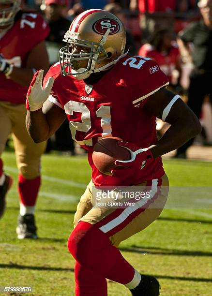 San Francisco 49ers running back Frank Gore gains yards during game on Sunday November 14 2010 at Candlestick Park in San Francisco California The...
