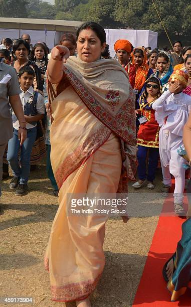 HRD Minister Smriti Irani interacts with children during Bal Diwas celebrations at Bal Bhavan in New Delhi