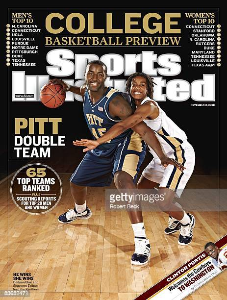 November 17 2008 Sports Illustrated Cover College Basketball Season Preview Portrait of Pittsburgh DeJuan Blair and Shavonte Zellous at Petersen...