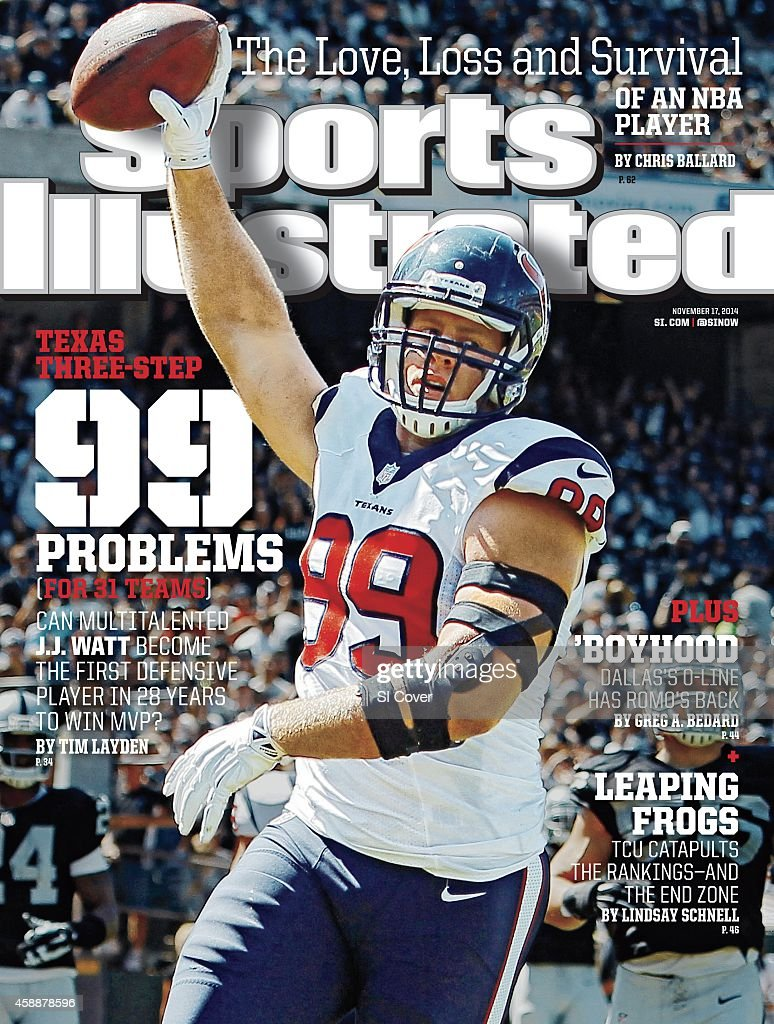 November 17 2014 Sports Illustrated Cover Houston Texans JJ Watt victorious during celebration after scoring touchdown vs Oakland Raiders during 1st...