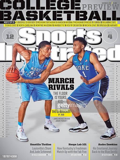 November 18 2013 Sports Illustrated Cover NCAA Season Preview Portrait of North Carolina forward James Michael McAdoo and Duke forward Jabari Parker...