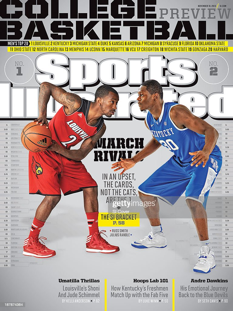 November 18 2013 Sports Illustrated Cover NCAA Season Preview Portrait of Louisville guard Russ Smith and Kentucky forward Julius Randle during photo...