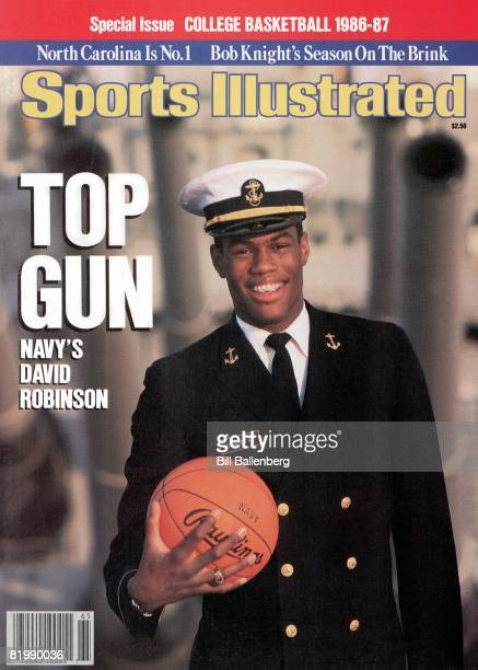 November 19 1986 Sports Illustrated Cover College Basketball Season Preview Closeup portrait of Naval Academy David Robinson with ball aboard ship...
