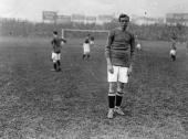 The Danish footballer Middleboe a newlyappointed member of Chelsea FC on the pitch for a match against Derby County at Chelsea's ground at Stamford...