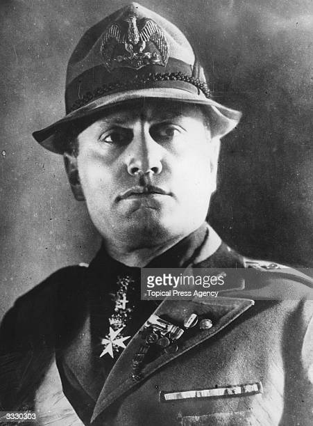 Italian dictator Benito Mussolini wearing a national malitia uniform