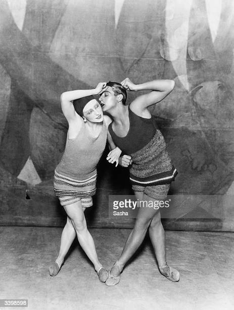 Dancers Lydia Sokolova and Anton Dolin in the Diaghilev Ballets Russes production of 'Le Train Bleu' Billed as an 'opertte danse' by Jean Cocteau...
