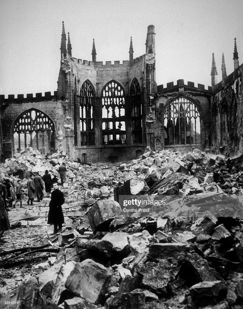 The ruins of Coventry Cathedral after it took a direct hit from German bombers.