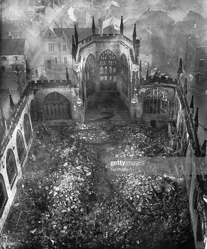 The ruins of Coventry Cathedral after the night Blitz on Coventry.