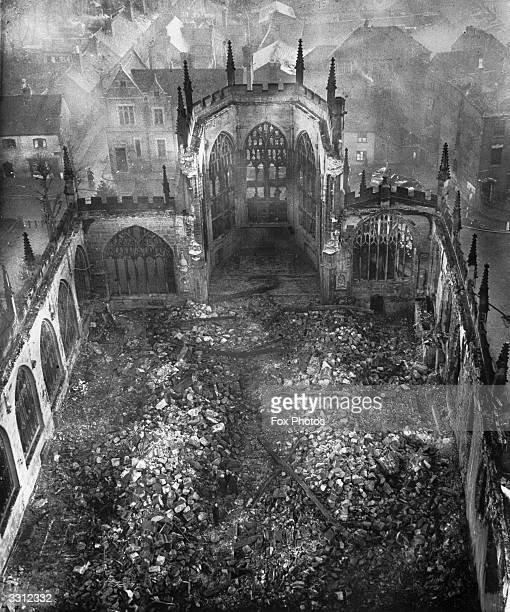 The ruins of Coventry Cathedral after the night Blitz on Coventry