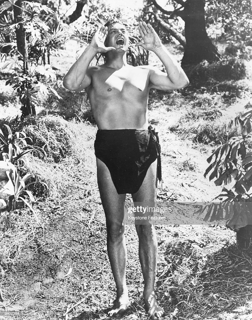American swimmer and film actor, Johnny Weissmuller (1904-1984), in the role as'Tarzan'.