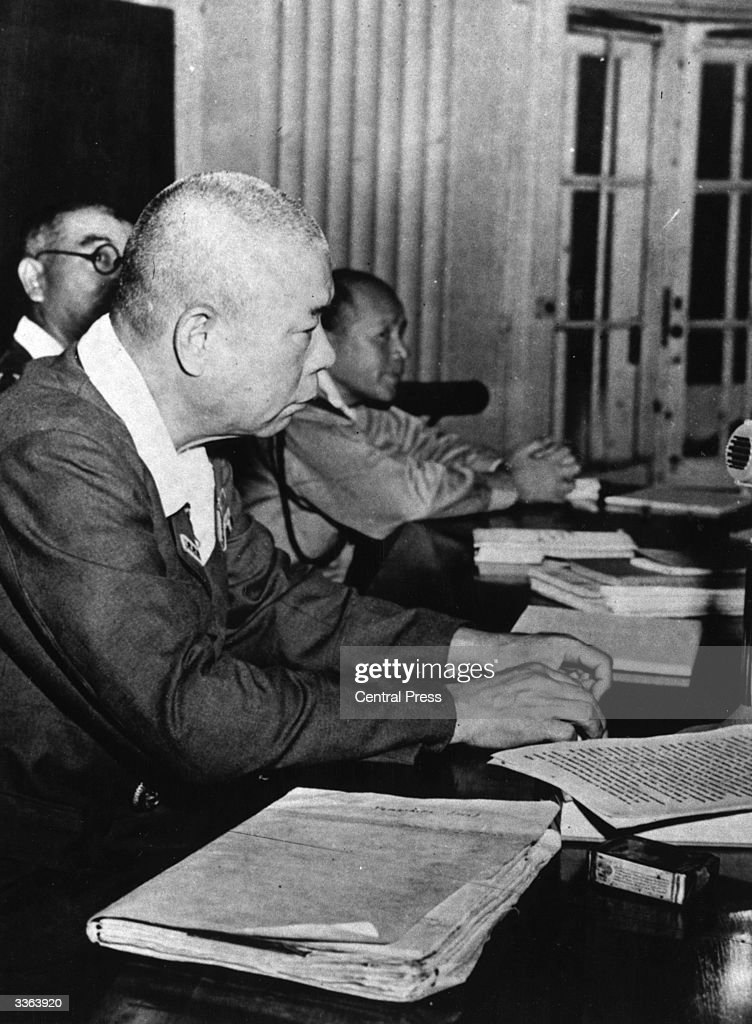 Japanese General Yamashita listening to evidence of war crimes committed by his troops in the last days of fighting in Manila during WW II.