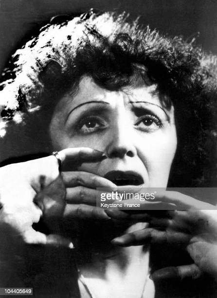 November 1947 portrait of singer Edith PIAF in concert at the New York Play House Her expressiveness brought her some success in movies