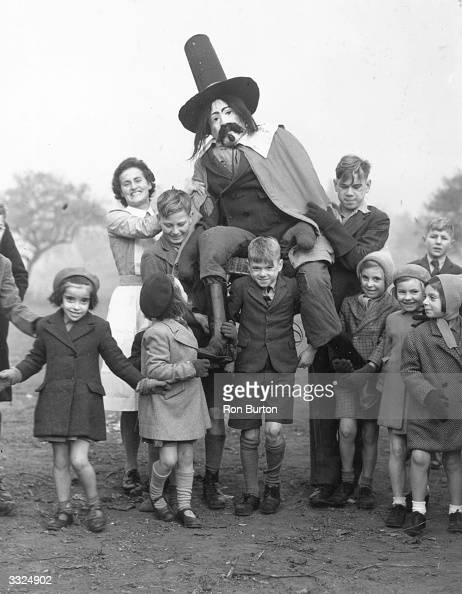 The staff and children of the Aldersbrook Children's Home Wanstead celebrating Guy Fawkes Day