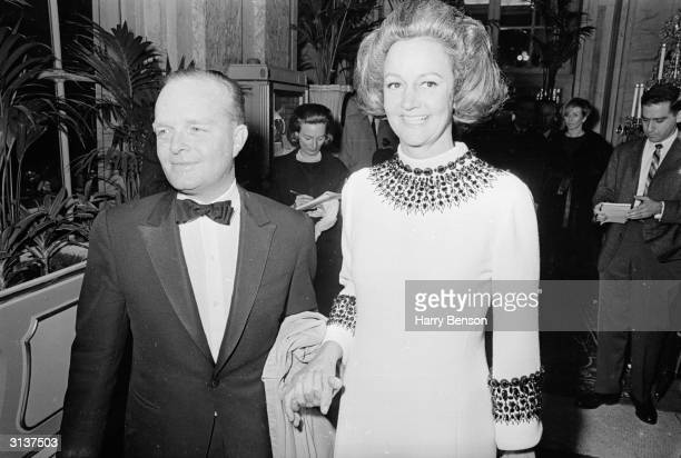 American novelist Truman Capote at his BlackandWhite Ball at the Plaza Hotel New York with Katherine Graham the publisher of the Washington Post