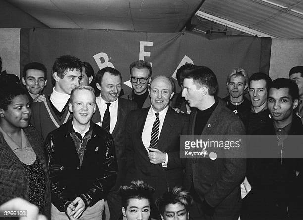 Neil Kinnock Labour Party leader and Ken Livingstone with musicians Billy Bragg Paul Weller Jimmy Somerville and Frank Chickens all part of the...