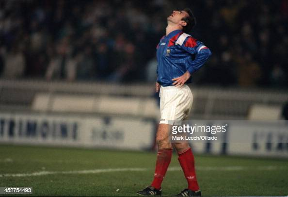 17 November 1993 Fifa World Cup Qualifying Match France v Bulgaria Dejection for Eric Cantona at the final whistle as France are eliminated by a last...
