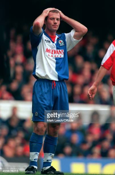 26 November 1995 Premiership Arsenal v Blackburn Rovers Alan Shearer of Blackburn shows his anguish