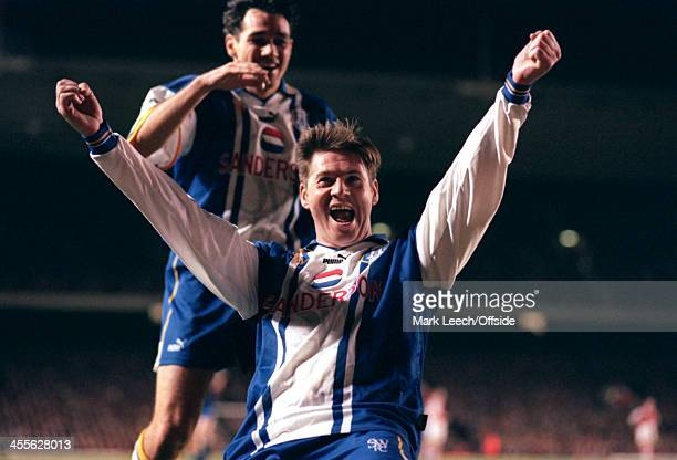 21 November 1995 Premiership Arsenal v Sheffield Wednesday Chris Waddle of Sheffield Wednesday celebrates his goal with teammate Guy Whittingham...