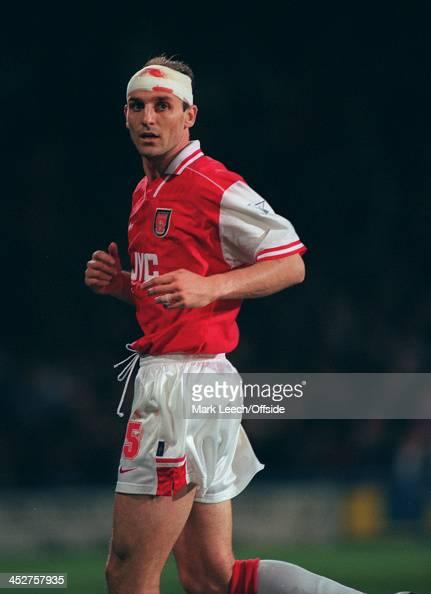 02 November 1996 FA Carling Premiership AFC Wimbledon v Arsenal Steve Bould of Arsenal wears a bandage after a head injury