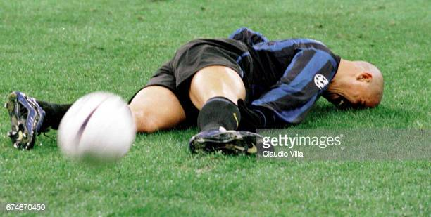 Ronaldo of Inter Milan crying laying down on the pitch during the Champions League match between Inter Milan and Real Madrid played at the 'Giuseppe...