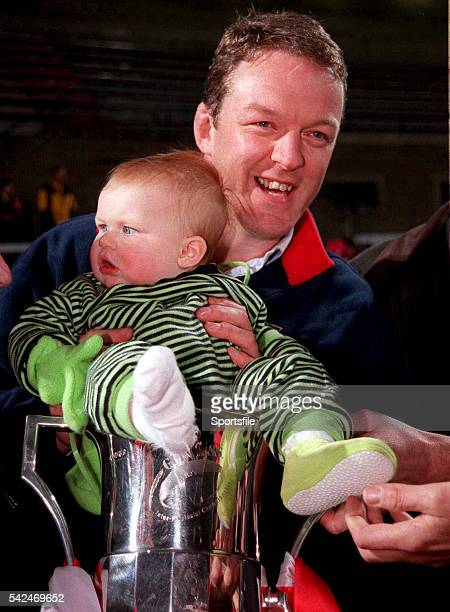 12 November 1999 Mick Galwey Munster captain with his daughter and the trophy Guinness Interprovincial Championship Munster v Connacht Thomond Park...